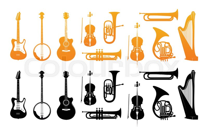 800x517 Set Icons Of Orchestral Musical Instruments In Golden And Black