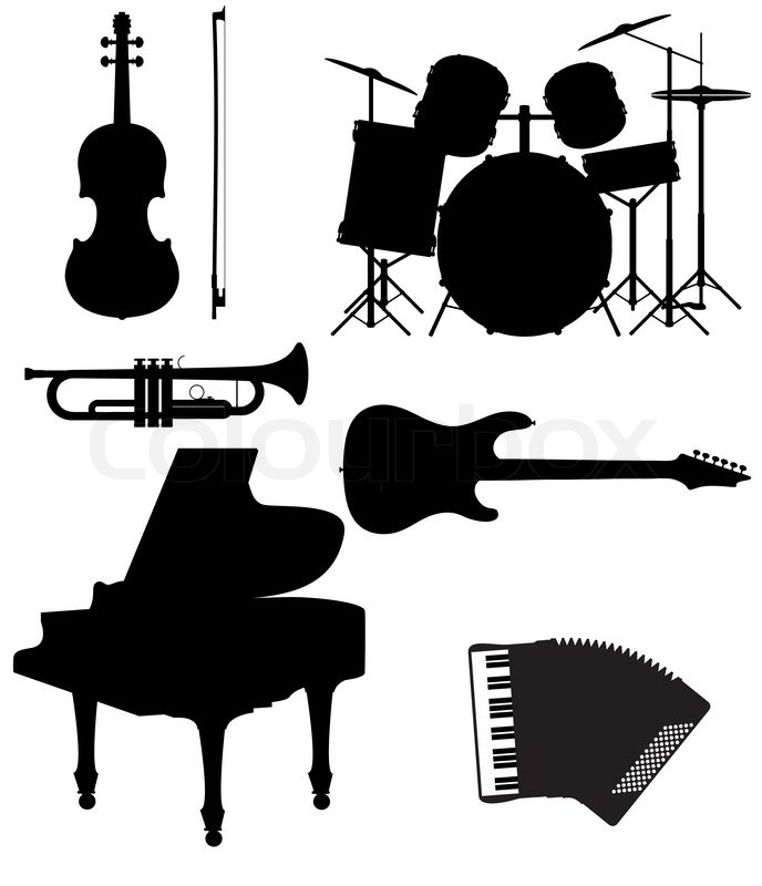 688x800 Set Icons Silhouettes Of Musical Instruments Vector Illustration