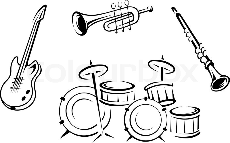 800x499 Set Of Musical Instruments Stock Vector Colourbox