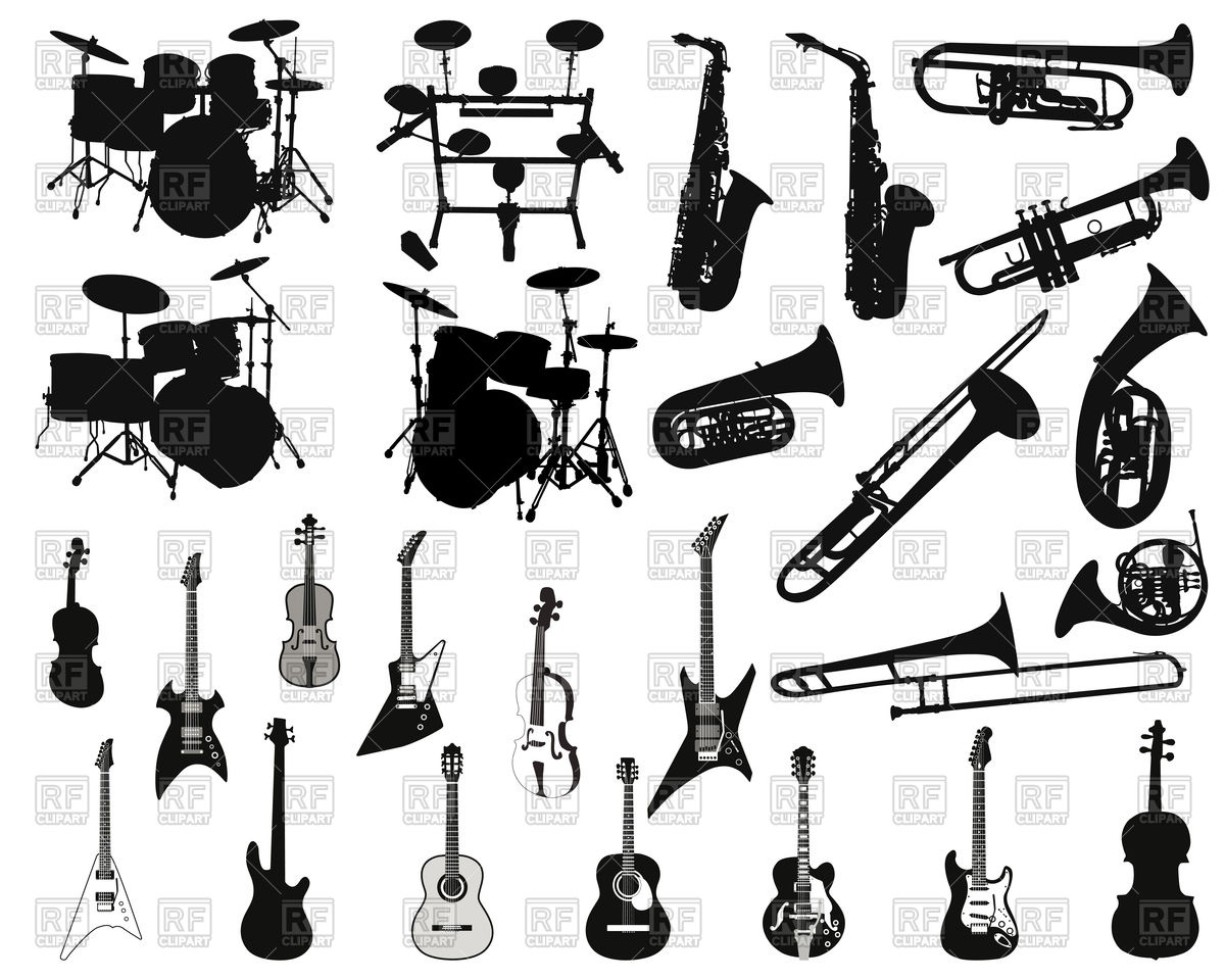 1200x960 Set Of Stringed, Wind And Percussion Musical Instruments Vector