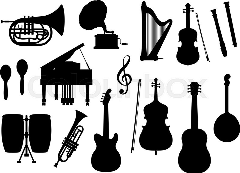 800x576 Silhouette Of Musical Instruments. Vector Isolated Icons Of