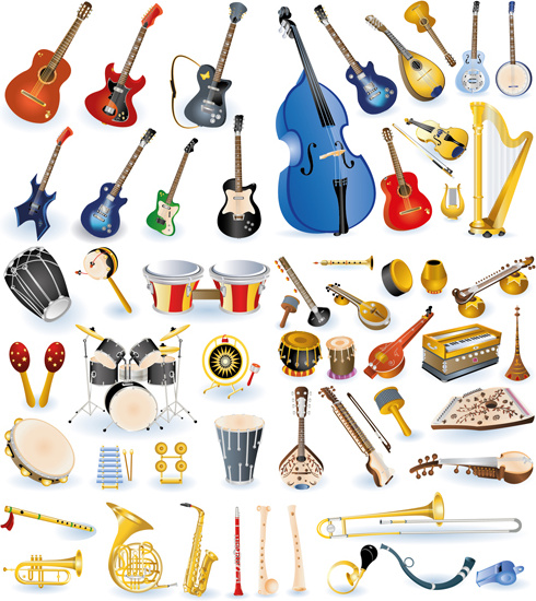 490x550 Vector Set Of Musical Instruments Graphics Free Vector In Adobe