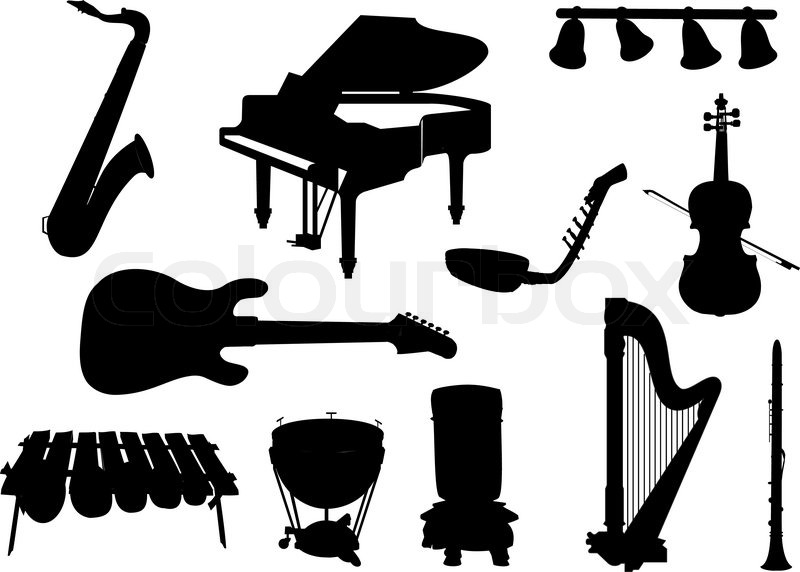 800x572 Collection Of Silhouettes Of Musical Instruments Stock Vector