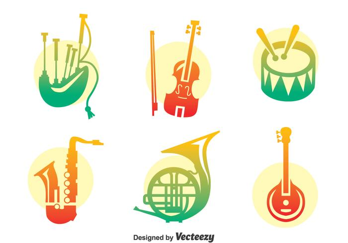 700x490 Colorful Music Instrument Vector Set