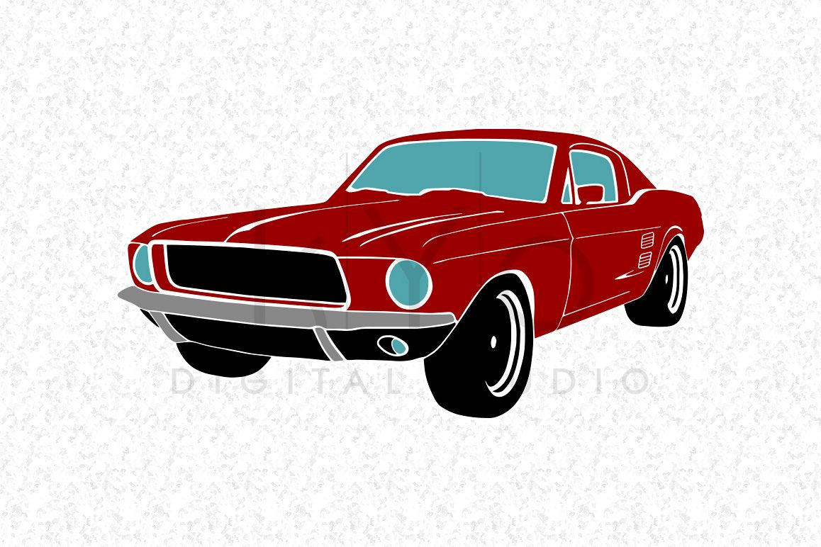 1158x772 Classic Ford Mustang American Muscle Car Silhouette Red Svg Png