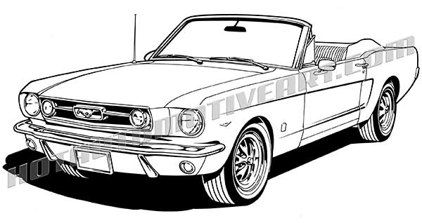 600x318 1966 Ford Mustang Convertible Vector Clip Art, Buy Two Images, Get