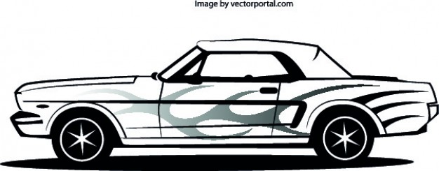 626x245 Mustang Car Lateral Vector Free Download