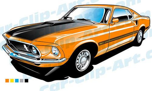 500x300 1969 Ford Mustang Mach 1 Vector Clip Art Coloring