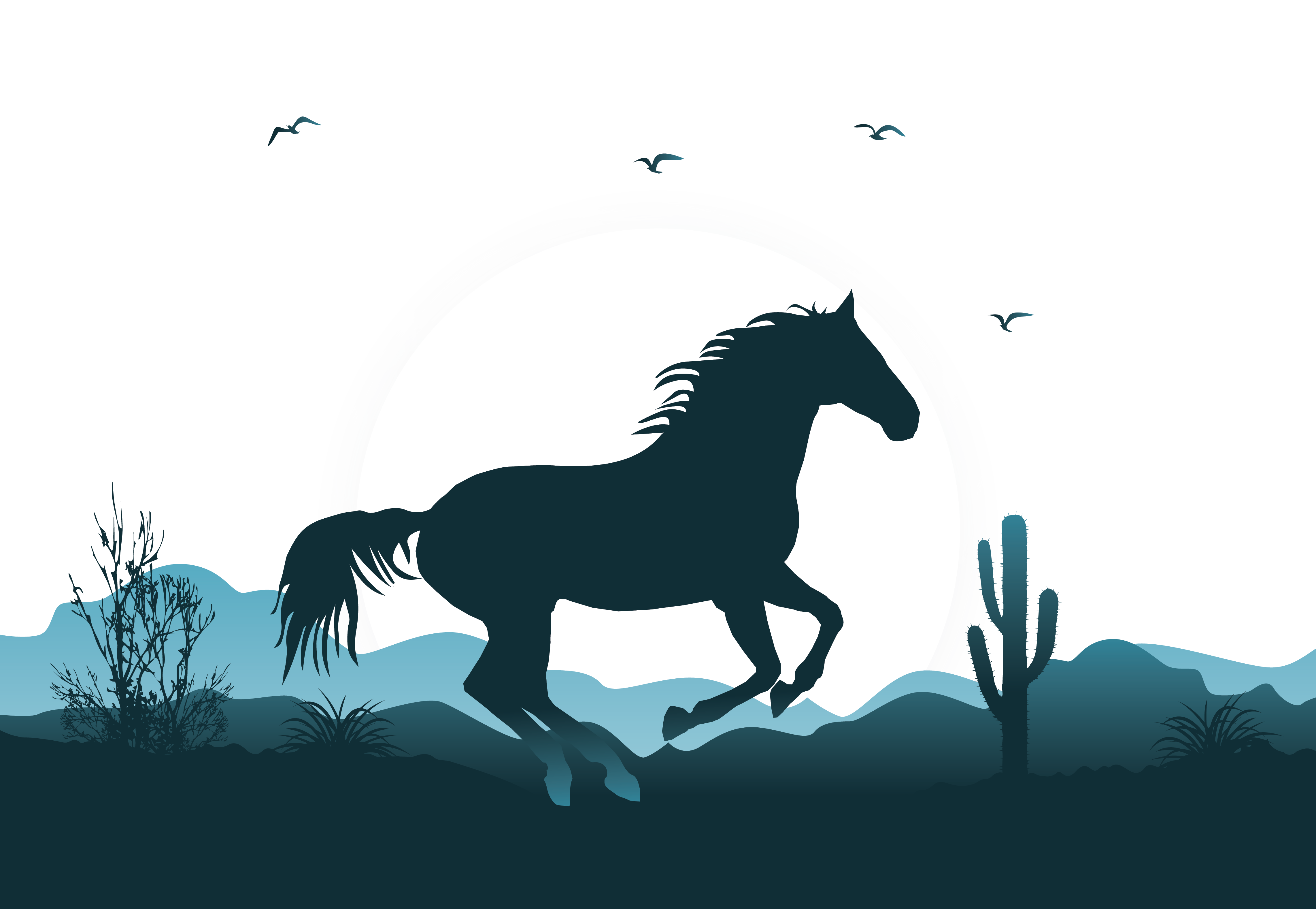 4567x3153 Mustang Wild Horse Horse Gait Illustration