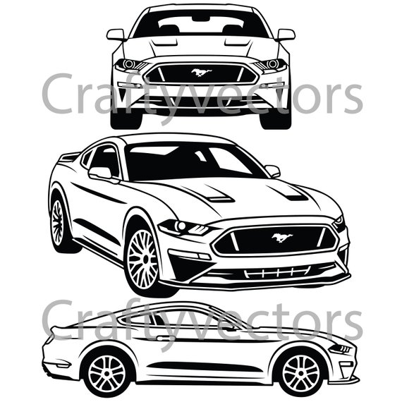 570x570 Ford Mustang 2018 Vector Svg Cut File Etsy