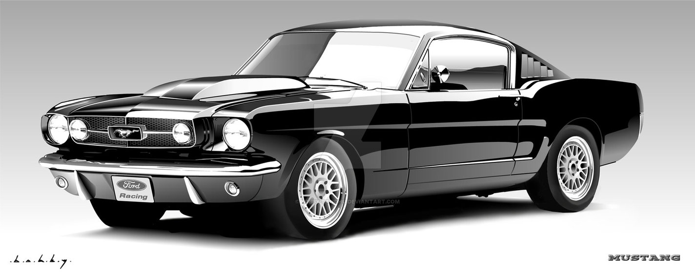 1424x560 Ford Mustang Vector Portrait By Bobby Sandhu