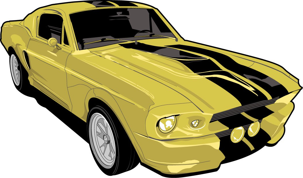 1057x620 Shelby Mustang Vector Illustration (Yellow And Gold) Create
