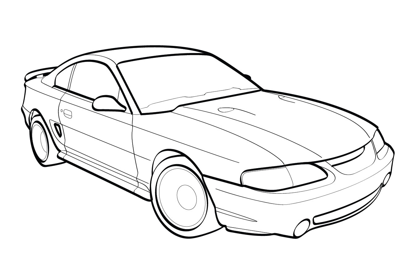 1323x906 Vector Line Drawing Of A 1998 Ford Cobra Mustang Trashedgraphics