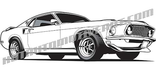 500x235 1969 Mustang Vector Clip Art, Buy Two Images, Get One Image Free