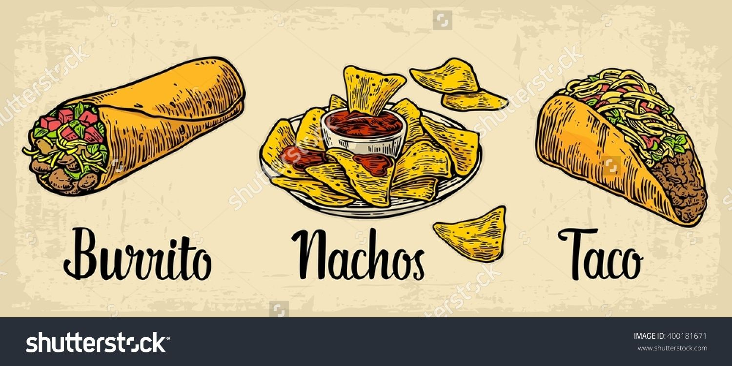 1500x751 Mexican Traditional Food Set With Text Message, Burrito, Tacos