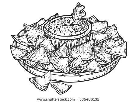 Nachos Vector at GetDrawings.com | Free for personal use ... Nachos Clip Art Black And White