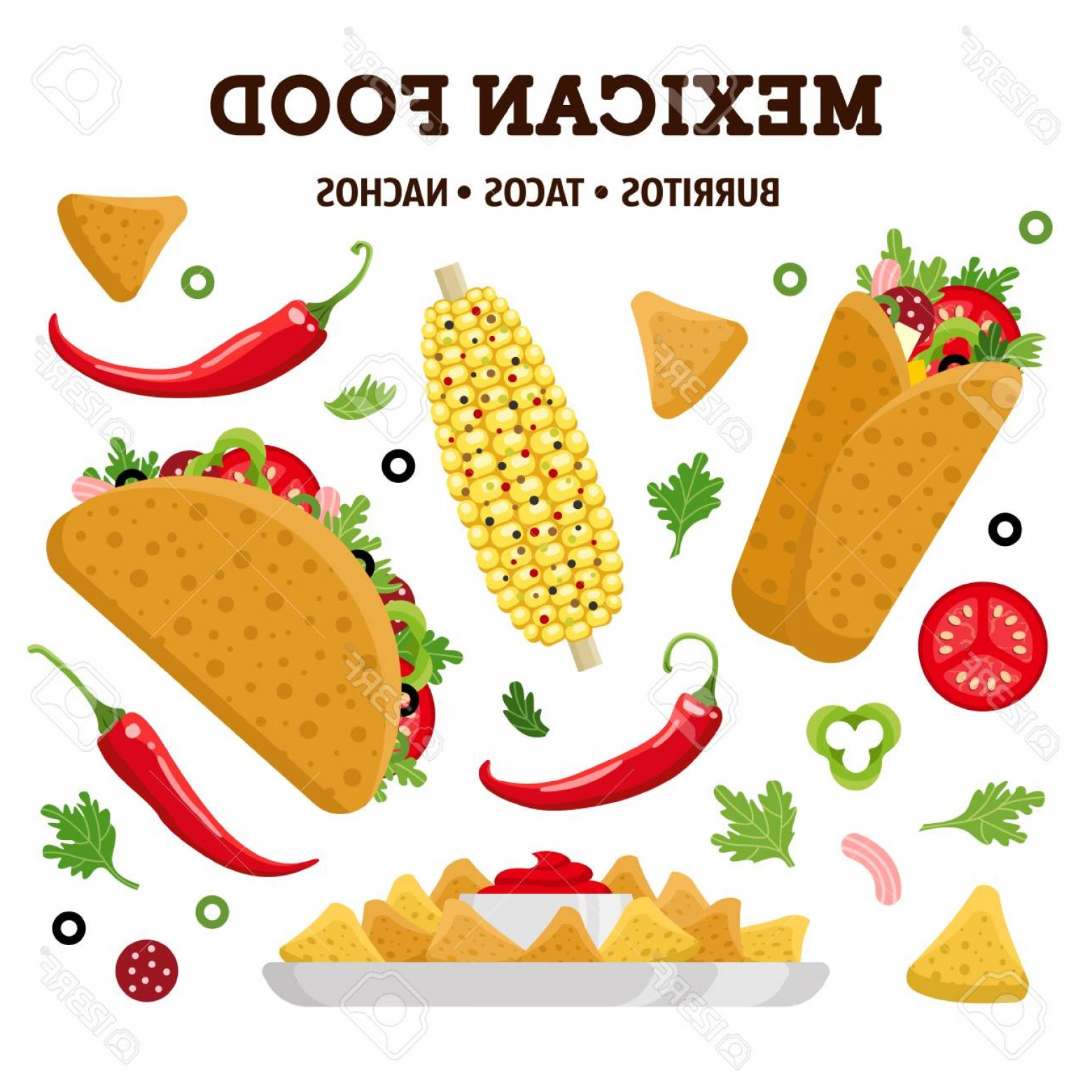 1560x1560 Photostock Vector Mexican Food Set Burrito Taco Nacho Colorful