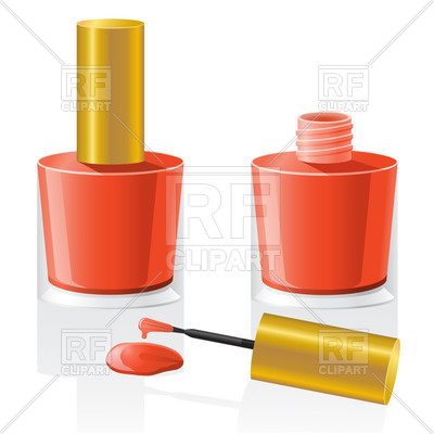 400x400 Nail Polish Bottle And Brush Vector Image Vector Artwork Of