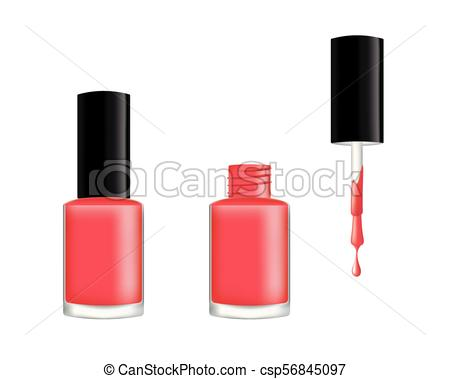 450x379 Realistic Nail Polish, Open And Closed Bottle, Vector.