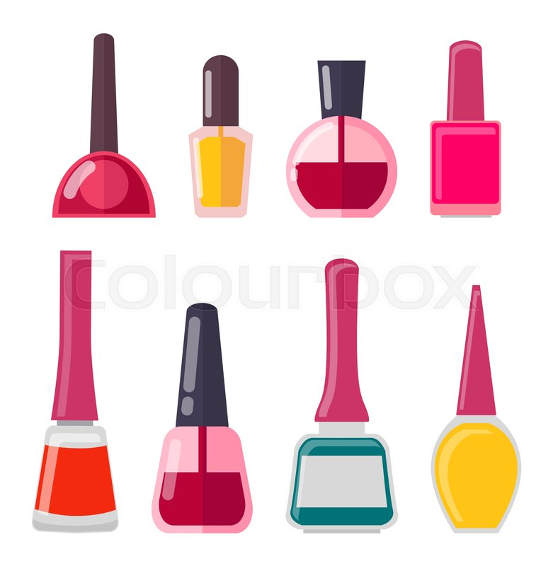 781x800 Set Of Different Nail Polish Bottle Vector Illustration Of Red