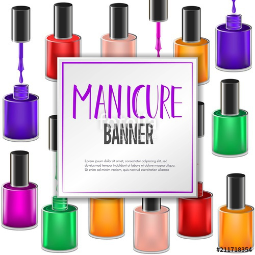 500x500 Square Vector Banner Design With Realistic Manicure Nail Polish