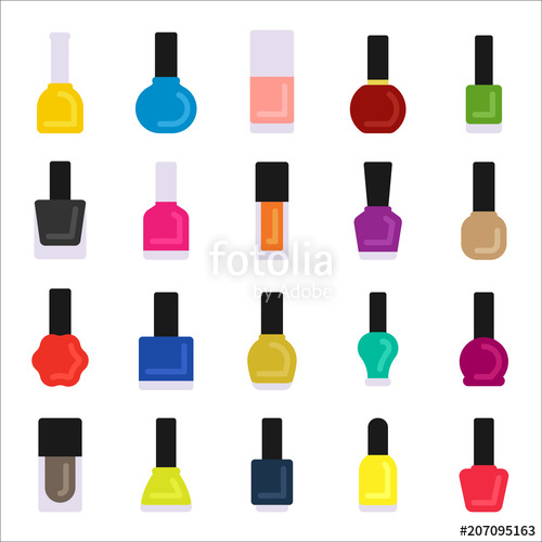 500x500 Various Shape Of Nail Polish Bottle Vector Flat Graphic Design