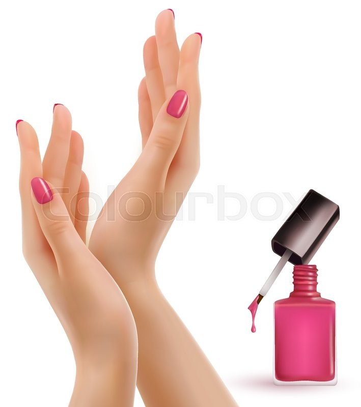 709x800 Female Beautiful Hands With A Pink Nail Polish Bottle. Vector