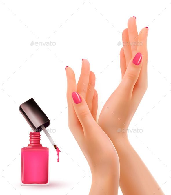 590x673 Hands With Pink Polished Nails Nail Polish Bottle. Vector. Fully