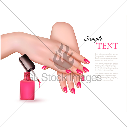 500x500 Manicured Hands And A Nail Polish Bottle. Vector. Gl Stock Images