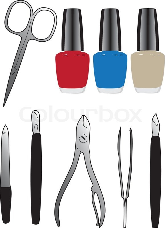 578x800 A Set Of Tools And Nail Polish Vector Illustration Stock Vector