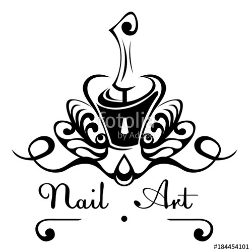 500x499 Nail Art Abstract Vector Logo Bottle Of Nail Polish With A Brush
