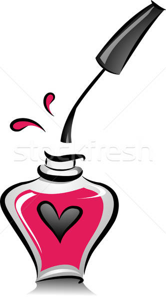 332x600 Open Bottle Of Pink Nail Polish Vector Illustration Lenm