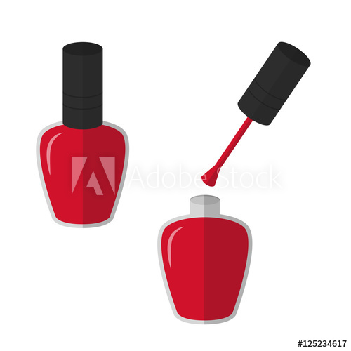 500x500 Flat Icon Red Nail Polish. Vector Illustration.