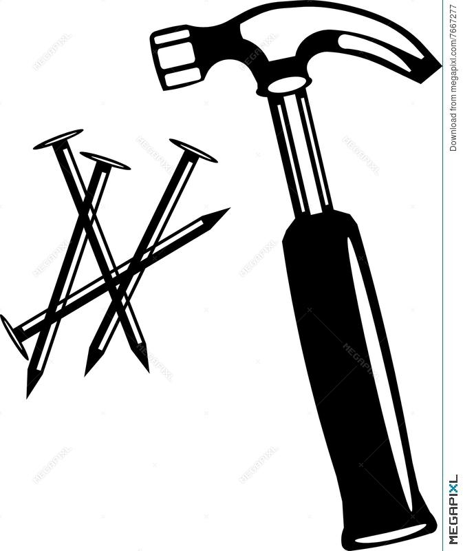 673x800 Hammer Nails Vector Art Illustration 7667277