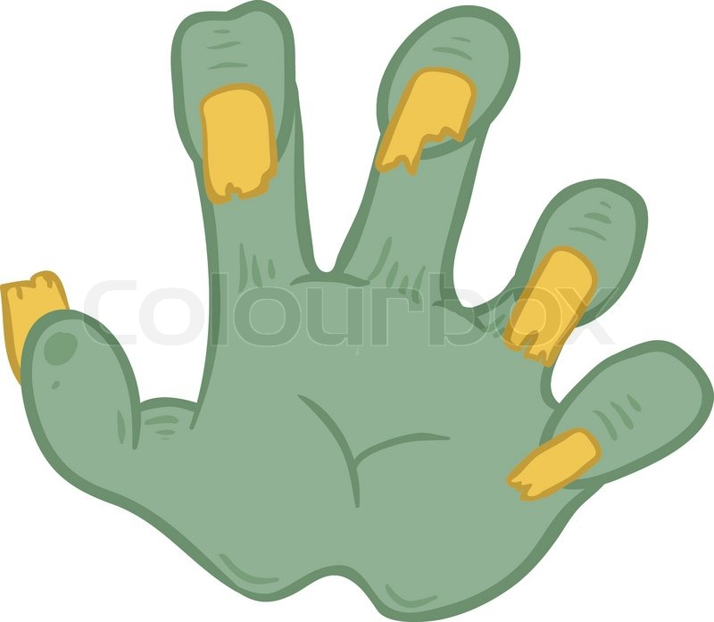 800x697 Hands Zombies With Broken Nails, Vector Illustration On White