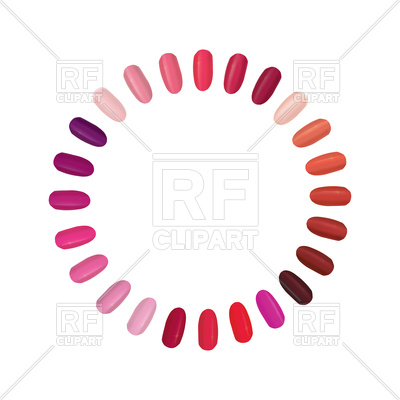 400x400 Nail Palette Set. Colorful Nails Settled In Circle. Vector Image