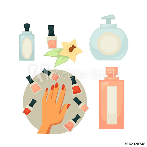 500x500 Spa Salon Equipment Set For Painting Nails Vector Poster