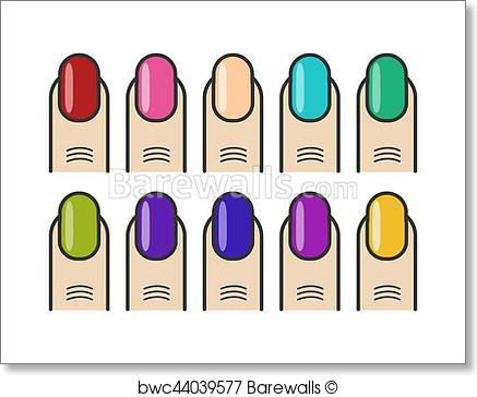 437x364 Art Print Of Manicure Fingers And Colorful Nails Vector Icons Set