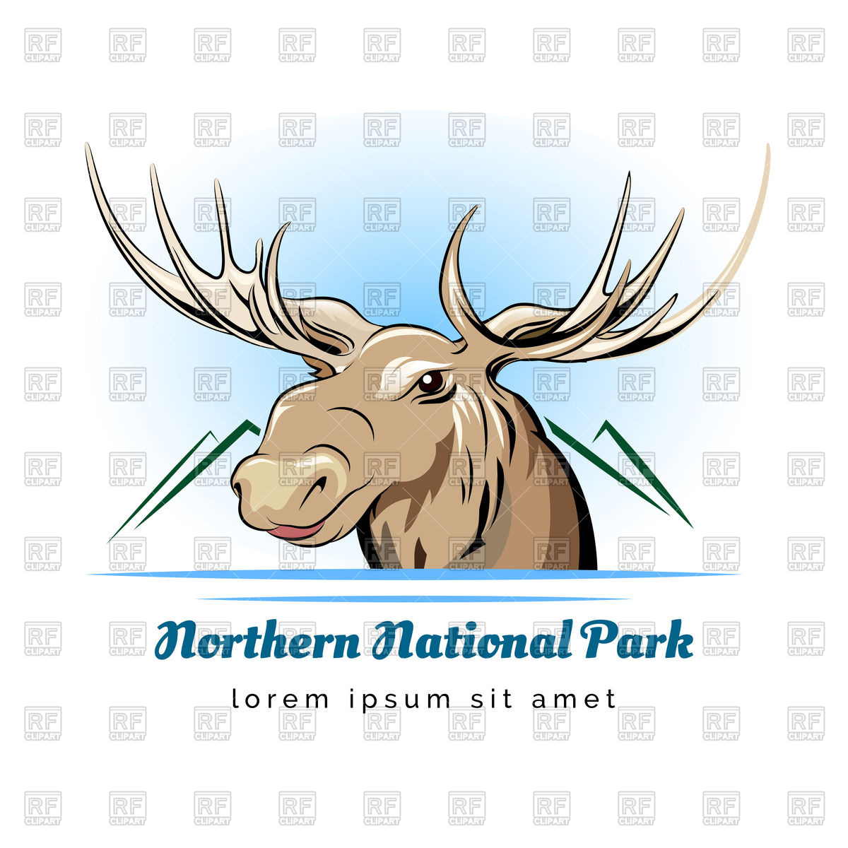 1200x1200 Logo Of National Park With Moose Head Vector Image Vector