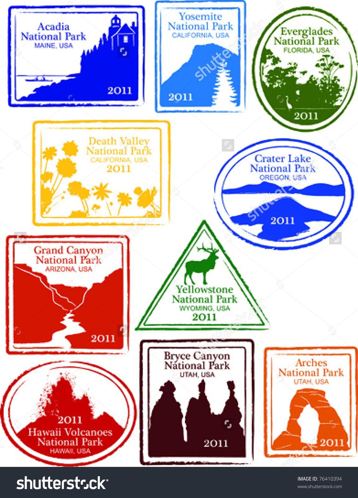 1150x1600 Retro Set Of Fun Usa National Park Passport Stamps Vector