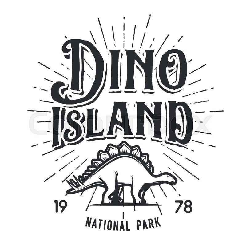 800x800 Vector Dinosaur Island Logo Concept. Stegosaurus National Park