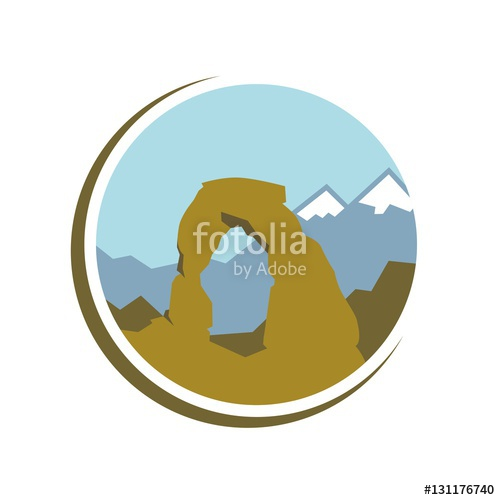 500x500 Utah National Park Logo Template. Logo Vector. Stock Image And