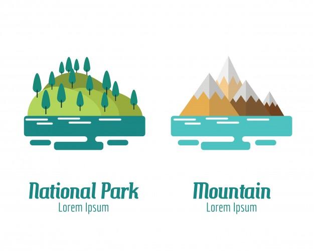 626x501 National Park And Mountain Landscape. Flat Design Elements. Vector