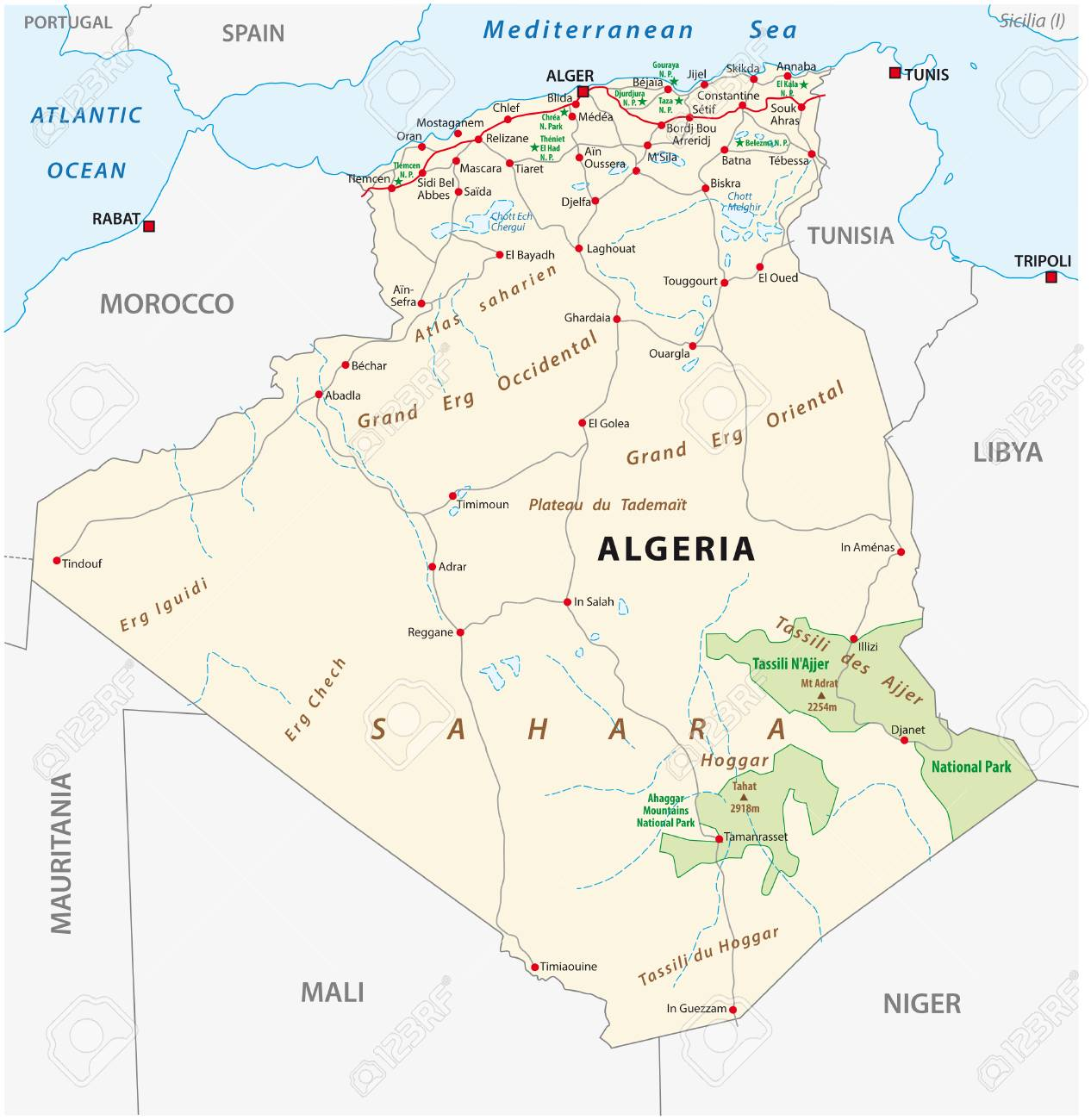 1266x1300 Road Map Of Algeria And National Park Vector Royalty Free Cliparts