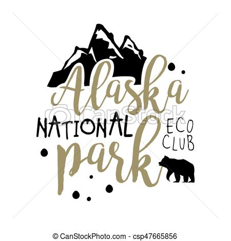 450x470 Alaska National Park, Eco Club Promo Sign, Hand Drawn Vector