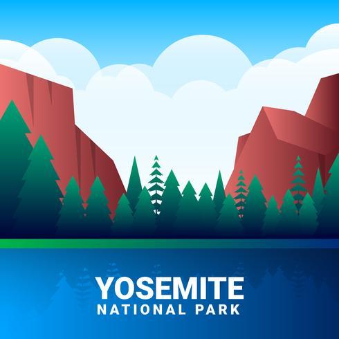 490x490 Yosemite National Park Vector Illustration