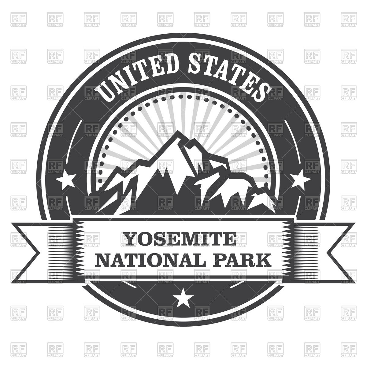 1200x1200 Yosemite National Park Round Stamp With Mountains Vector Image