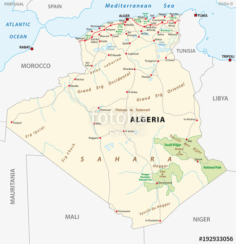 484x500 Algeria Road And National Park Vector Map Stock Image And Royalty