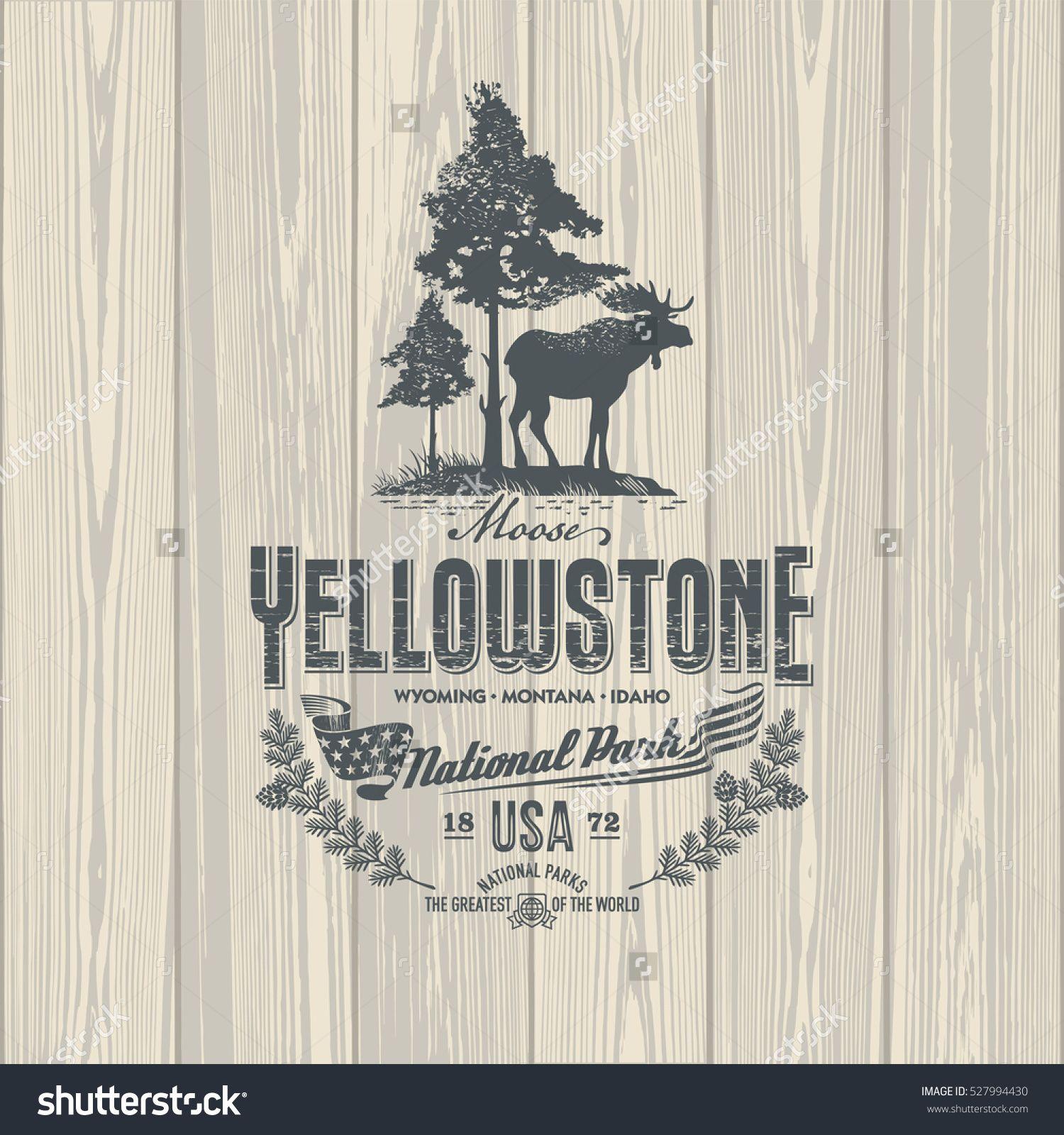1500x1600 Elk, National Park Yellowstone On Wooden Background, Illustration