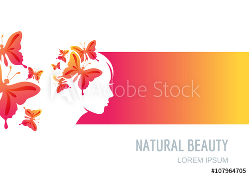 500x354 Female Face On Colorful Background. Woman With Butterflies In Hair